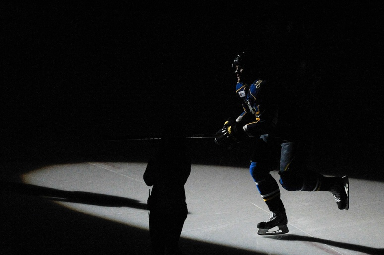 NICK SCHNELLE/JOURNAL STAR  Tyler Shattock (26) of the Rivermen is introduced at the beginning of the game against Toronto on Sunday at Carver Arena. The Rivermen defeated the Marlies 3-2 in a shootout.