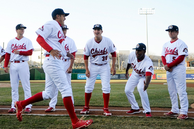 NICK SCHNELLE/JOURNAL STAR  Peoria Chiefs players are introduced at the home opener against the Wisconsin Timber Rattlers on Thursday afternoon at Peoria Chiefs Stadium.
