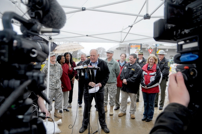 NICK SCHNELLE/JOURNAL STAR  Gov. Pat Quinn speaks along side local officials announcing a plan that gives businesses impacted by the flooding extra time to file and pay their sales taxes on Tuesday in downtown Peoria.